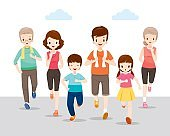 Happy Family Running Together For Good Health