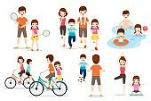 Set Of Family With Various Exercise And Sports Activities