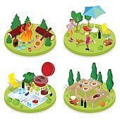 Isometric BBQ Picnic Party. Summer Holiday Camp. People in Park with Grilled Meat