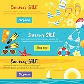 banner template design with colorful beach elements