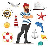 illustration of bearded sailor smoking pipe.