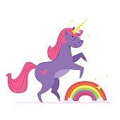 illustration of happy unicorn with rainbow.