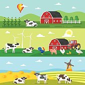 web banner. Farm, farmers, farm animals