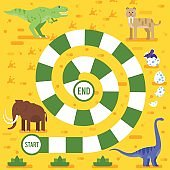 kids board game with dinosaurs template.