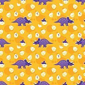 seamless pattern with dinosaurs.