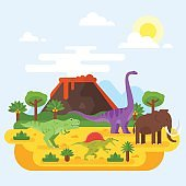 prehistoric landscape mountains and volcano with dinosaurs.