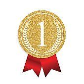 Art Golden Medal Icon Sign First Place. Vector Illustration