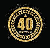 Template 40 Years Anniversary Vector Illustration