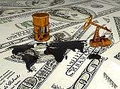 Golden Pumpjack And Spilled Oil On The Money. 3d render
