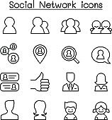 Social network icon set in thin line style