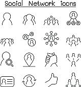Social Network & Social Media icon set in thin line style