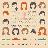 Big vector set of dress up constructor with different woman haircuts, glasses, lips etc. Flat faces icon creator.