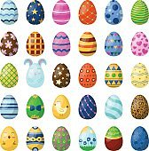 Easter eggs painted with spring pattern vector illustration