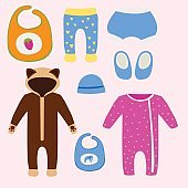 Vector baby clothes icon set design textile casual fabric colorful dress child garment wear illustration