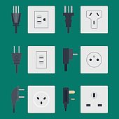 Electric outlet vector illustration energy socket electrical outlets plugs european appliance interior icon