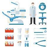 Dentist stomatology equipment vector illustration