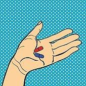 Pop art hand with pills vector illustration