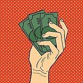 Pop art hand money vector illustration