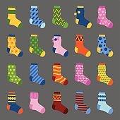 Flat design colorful socks set vector illustration