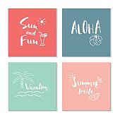 Collection of four beautiful summer poster with hand drawn lette