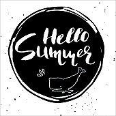 Beautiful hand drawn summer poster on white background .
