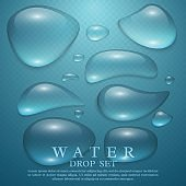 Realistic transparent water drops set.