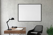 Blank picture frame template interior wall