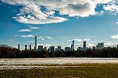 New York City skyline through Central Park interior