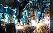 Movement of the robot welding in an auto parts factory.