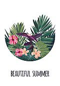 Floral vertical postcard design with hibiscus flowers, monstera and royal palm leaves. Exotic hawaiian vector background