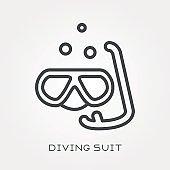 Line icon diving suit