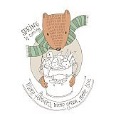 Vector illustration. Beaver in sweater with a bucket full of flowers. Spring is coming.