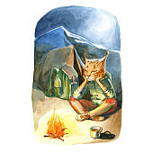 Watercolor illustration. Cute animal like humans. Humanized animal. The lynx pants and jacket sitting near the fire with a backpack and a tent at night.