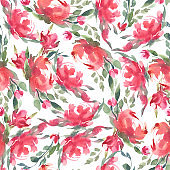watercolor seamless pattern. Pink, rose, and red flowers on white background.