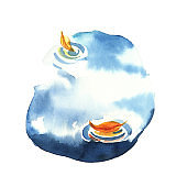 Watercolor illustration. Autumn puddle with sky reflection isolated on white background.