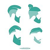Set of hipster man haircuts, beards, mustaches. Simple design for symbol, silhouette. Vector illustration.