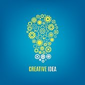 Innovation, creative idea vector concept with light bulb and gears