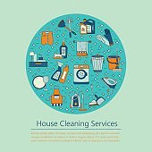 House cleaning vector card