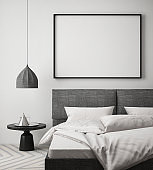 mock up poster frame in hipster bedroom interior background, scandinavian style, 3D render
