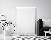 mock up poster frame in hipster interior background with bicycle, scandinavian style, 3D render