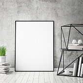 mock up poster frame in hipster interior background, scandinavian style, 3D render