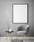 mock up poster frame in hipster interior background, scandinavian style, 3D render