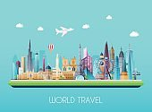 Travel on the world concept. Tourism. Flat vector illustration.