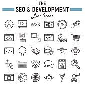 SEO and development line icon set, business symbols collection, marketing vector sketches, icon illustrations, business signs linear pictograms package isolated on white background, eps 10.