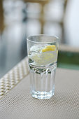 a glass of carbonated water