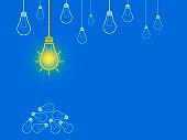 New Idea Light Bulb on Blackboard - Business Chalkboard Background