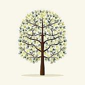 Green hand print tree environment illustration