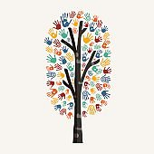 Hand tree concept illustration for charity help