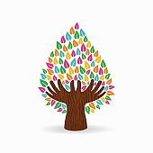Human hand color tree concept for social help