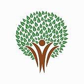 Green tree people symbol for community team help